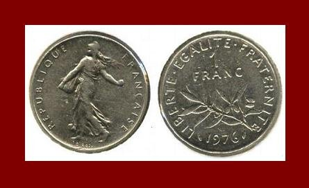 FRANCE 1976 1 FRANC COIN KM#925.1 Europe ~ BEAUTIFUL!