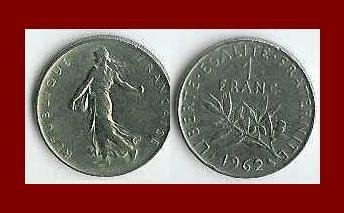 FRANCE 1962 1 FRANC COIN KM#925.1 Europe ~ BEAUTIFUL!