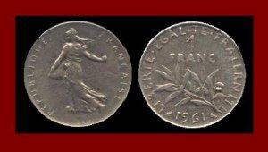 FRANCE 1961 1 FRANC COIN KM#925.1 Europe ~ BEAUTIFUL!