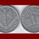 FRANCE 1943 1 FRANC COIN KM#902.1 Europe ~ WWII Coin ~ Vichy French State Issue ~ BEAUTIFUL!