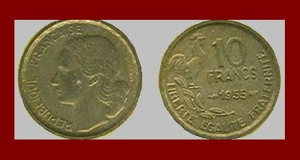 FRANCE 1955 10 FRANCS COIN KM#915.1 EUROPE ~ ROOSTER