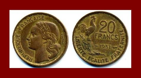 FRANCE 1951 20 FRANCS COIN KM#917.1 Europe ~ ROOSTER with 4 PLUMES ~ SCARCE!
