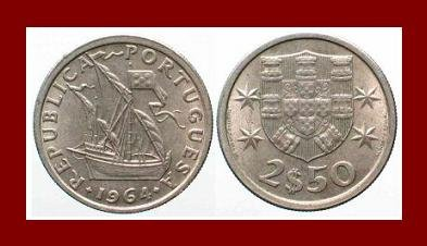 PORTUGAL 1964 2 1/2 (HALF) ESCUDOS COIN KM#590 Europe ~ Galleon Ship
