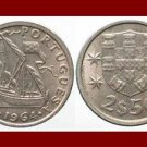 PORTUGAL 1964 2 1/2 (HALF) ESCUDOS COIN KM#590 Europe ~ Galleon Ship