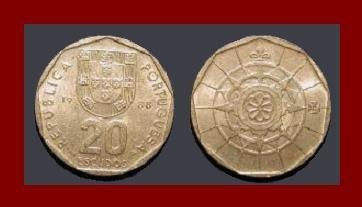 PORTUGAL 1988 20 ESCUDOS COIN KM#634 Europe - Compass