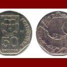 PORTUGAL 1987 50 ESCUDOS COIN KM#636 Europe - Galleon Ship & 4 Fish in Ocean ~ SCARCE!