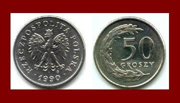 POLAND 1990 50 GROSZY COIN Y#281 Communist Coin - Crowned White Eagle ~ BEAUTIFUL!