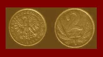 POLAND 1985 2 ZLOTE BRASS COIN Y#80.1 Communist Coin - White Eagle