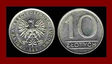 POLAND 1988 10 ZLOTYCH COIN Y#152.1 Communist Coin - White Eagle