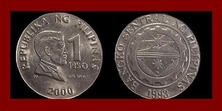 PHILIPPINES 2000 1 PISO COIN KM#269 National Hero Dr. Jose Rizal ~ BEAUTIFUL!