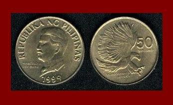 PHILIPPINES 1994 50 SENTIMOS BRASS COIN KM#242.3 PITHECOPHAGA - Monkey Eating Eagle
