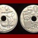 SPAIN 1949 50 CENTIMOS COIN KM#777 Y116 Francisco Franco ~ Ship Anchor & Steering Wheel