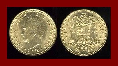 SPAIN 1975(78) 1 PESETA COIN KM#806 ~ King Carlos I ~ BEAUTIFUL!