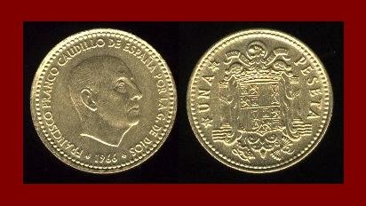 SPAIN 1966(73) 1 PESETA COIN KM#796 ~ Francisco Franco ~ BEAUTIFUL!
