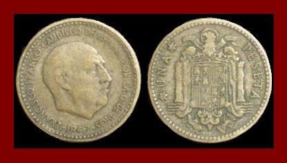 SPAIN 1947(49) 1 PESETA COIN KM#775 Y113 Europe - Regent Francisco Franco ~ SCARCE!
