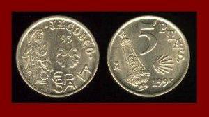 SPAIN 1993 5 PESETAS PTAS COIN KM#919 Y233 - Jacob Holding Staff - Antique Oil Lamp