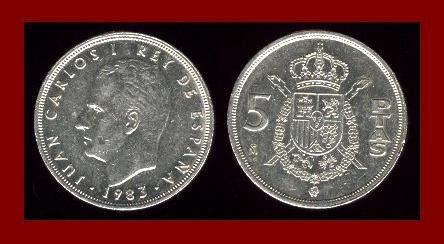 SPAIN 1983 5 PESETAS PTAS COIN KM#823 Y128a - King Juan Carlos I ~ BEAUTIFUL!