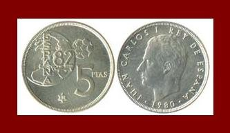 SPAIN 1980(81) 5 PESETA PTAS COIN KM#817 Y134 KING CARLOS I ~ Commemorative World Cup Soccor Games