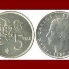 SPAIN 1980(80) 5 PESETA PTAS COIN KM#817 Y134 KING CARLOS I ~ Commemorative World Cup Soccor Games