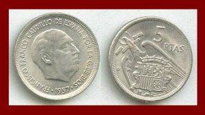 SPAIN 1957(64) 5 PESETAS PTAS COIN KM#786 Y118 Europe - Regent Francisco Franco - SCARCE!