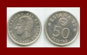 SPAIN 1980(82) 50 PESETAS PTAS COIN KM#819 Y136 ~ Commemorative World Cup Soccer Games ~ BEAUTIFUL!