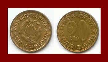 YUGOSLAVIA 1973 20 PARA COPPER ZINC COIN KM#45 COMMUNIST COIN