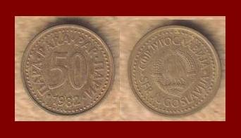 YUGOSLAVIA 1982 50 PARA BRONZE COIN KM#85 COMMUNIST COIN