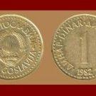 YUGOSLAVIA 1982 1 DINAR NICKEL BRASS COIN KM#86 COMMUNIST COIN