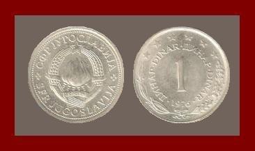 YUGOSLAVIA 1976 1 DINAR COPPER NICKEL ZINC COIN KM#59 - 6 STARS - COMMUNIST COIN