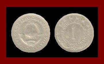 YUGOSLAVIA 1973 1 DINAR COPPER NICKEL ZINC COIN KM#59 - 6 STARS - COMMUNIST COIN