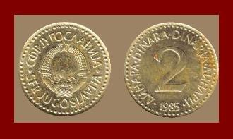 YUGOSLAVIA 1985 2 DINARA NICKEL BRASS COIN KM#87 COMMUNIST COIN ~ BEAUTIFUL!