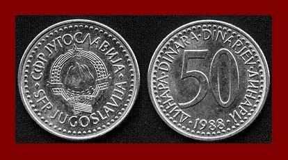 YUGOSLAVIA 1988 50 DINARA COPPER NICKEL ZINC COIN KM#113 - COMMUNIST COIN ~ BU ~ BEAUTIFUL!