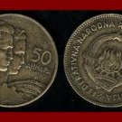 YUGOSLAVIA 1955 50 DINARA ALUMINUM BRONZE COIN KM#35 - COMMUNIST COIN ~ SCARCE!