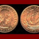 England United Kingdom Great Britain 1967 1/2 HALF PENNY BRONZE COIN KM#896 Drakes Ship Golden Hind
