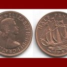 England United Kingdom Great Britain 1959 1/2 HALF PENNY BRONZE COIN KM#896 Drakes Ship Golden Hind