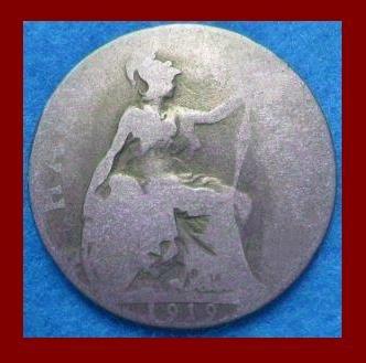 England UK Great Britain 1919 1/2 HALF PENNY BRONZE COIN KM#809 ~ Warrior Queen Britannia ~ SCARCE!