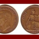 England United Kingdom Great Britain UK 1940 1 ONE PENNY BRONZE COIN KM#845 Warrior Britannia WWII