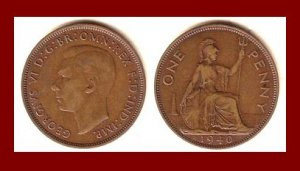 England United Kingdom Great Britain UK 1940 1 ONE PENNY BRONZE COIN KM#845 Warrior Britannia WWII