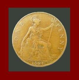 England United Kingdom Great Britain UK 1921 1 ONE PENNY BRONZE COIN KM#810 Warrior Queen Britannia