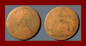 England United Kingdom Great Britain UK 1863 1 ONE PENNY BRONZE COIN KM#749.2 ~ QUEEN VICTORIA