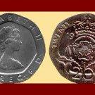 England United Kingdom Great Britain UK 1982 20 TWENTY PENCE COIN KM#931 ~ Crowned Tudor Rose