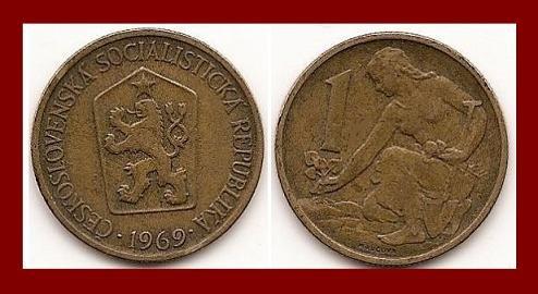 CZECHOSLOVAKIA 1969 1 KORUNA COIN KM#50 Europe - Kneeling Woman & Shovel