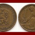 CZECHOSLOVAKIA 1969 1 KORUNA COIN KM#50 Europe - Kneeling Woman & Shovel
