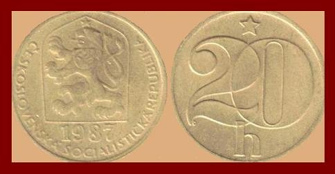 CZECHOSLOVAKIA 1987 20 HALERU BRASS COIN KM#74 Europe