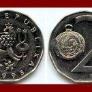 CZECH REPUBLIC 1993(L) 2 KORUN COIN KM#9 Crowned Lion & Pocket Watch - XF BEAUTIFUL!