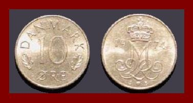 DENMARK 1974 10 ORE COIN KM#860.1 Queen Margrethe II - Crowned M