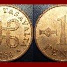 FINLAND 1968 1 PENNI COPPER COIN KM#44 Hands Clasped