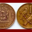 SOUTH AFRICA 1977 1 CENT BRONZE COIN KM#82 AFRICAN SUID TRIBAL LEGEND Sparrows