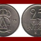 SWEDEN 1972 25 ORE BRONZE COIN KM#836 Europe - King Gustaf VI - XF BEAUTIFUL!