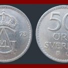 SWEDEN 1973 50 ORE COIN KM#837 Europe - Last year of King Gustaf VI reign